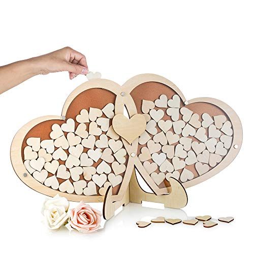 Nuptio Unique Wedding Guest Book Alternative, Large Rustic Visitors Book with 100pcs Wooden Hearts, Wood Frame Drop Box Guestbooks with Stand Wedding Planner (21.7