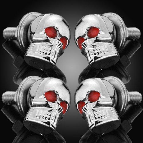 4X 6mm DIY 3D Design Decoration Chrome Skull Red Eye License Plate LIC Tag Frame Bolts Set Universal Fit Car Light Truck