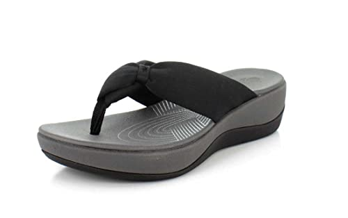 8b1eb22ae446 Image Unavailable. Image not available for. Colour  CLARKS Womens Arla  Glison Black Thong Sandal ...