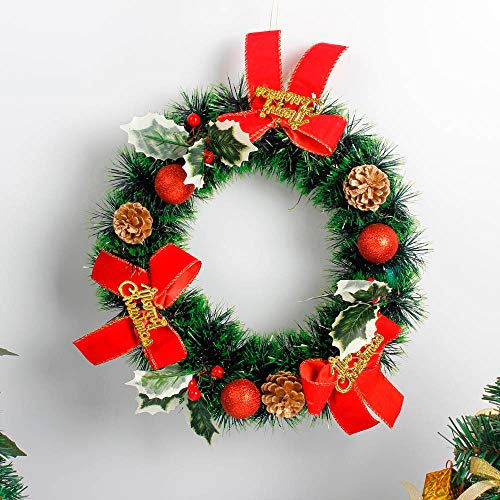 MSOO DIY Merry Christmas Wreath 35cm Garland Window Door Decorations Bowknot Ornament -