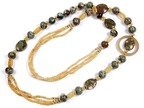 Frida-Collier Longue d'Opale, hématite et Rhyolite