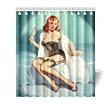 QUICKMUGS2U Pretty Blonde Lady With A Mirror Sexy Retro PIN UP GIRL Vintage Bathroom Waterproof Mildew Resistant Polyester Fabric Bath Curtain Size 66''(W) x 72''(H)