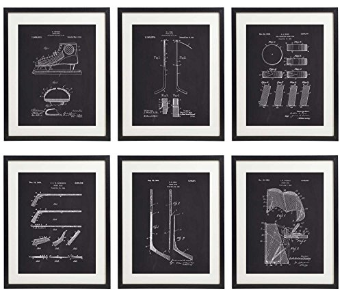 IDIOPIX Ice Hockey 01 Patent Wall Decor Chalkboard Art Print Set of 6 Prints UNFRAMED