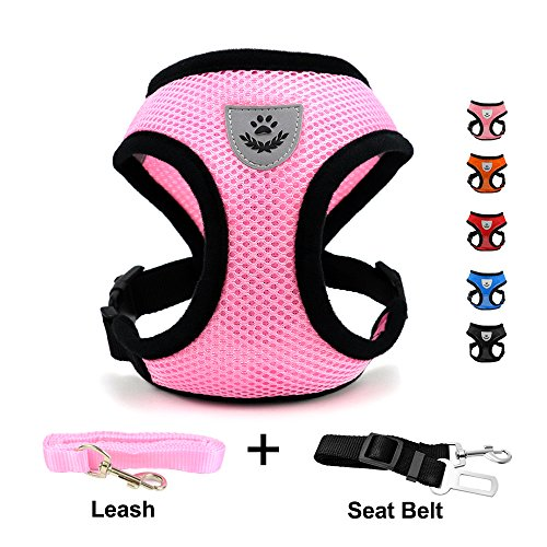 INVENHO Mesh Harness with Padded Vest for Puppy and Cats No Choke Design Ventilation Gift with One Leash & Seat Belt(Pink X-Small)