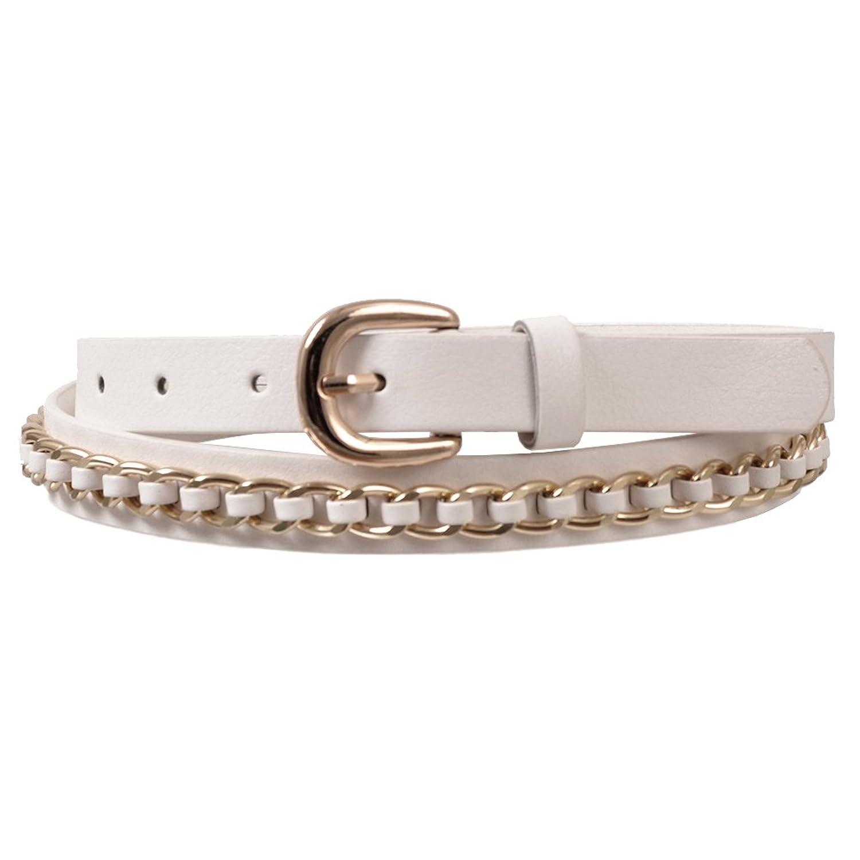 Landes Women's Golden Chain Design Faux Leather Belt