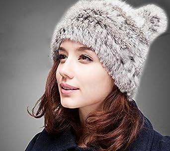 Joyci Korean Women s Cat Ear Ski Hat Lovely Fluffy Rabbit Fur Earmuff Cap