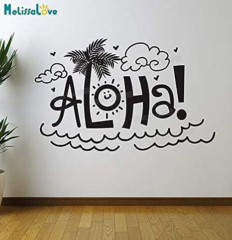 Cartel simple vinilo etiqueta de la pared arte palabra Aloha ...