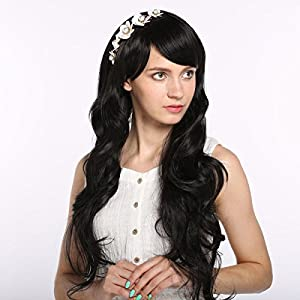 MelodySusie High Quality Fashion Fluffy Fancy Black Long Full Wig Hair Curl Wigs + MelodySusie Wig Cap + MelodySusie Wig Comb