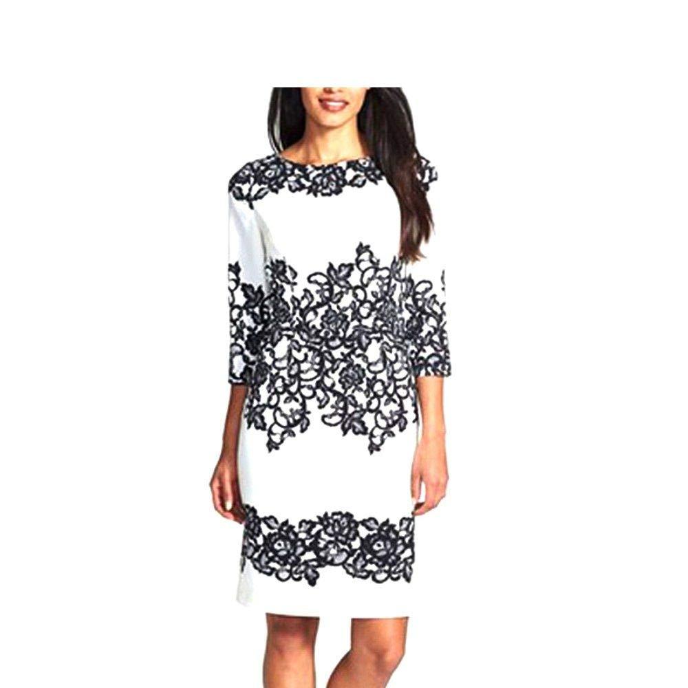 e8597401f7a1 Spice it up Women s White   Black Jewel Neck Floral Print Bodycon Dress  (LB9825