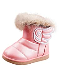 Femizee Girls Fashion Wings Warm Snow Boots Toddler Winter Velcro Shoes