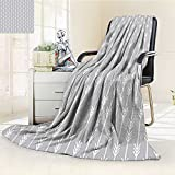YOYI-HOME Digital Printing Duplex Printed Blanket Continuous Arrow Geometric Pattern Monochromatic Art Print Accessories Grey and White Summer Quilt Comforter /W59 x H39.5
