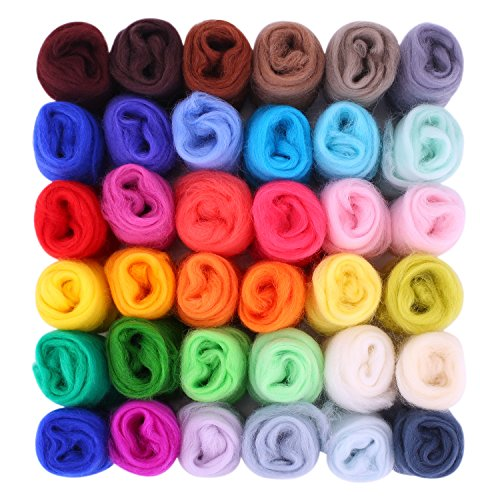 Fuyit Wool Roving 36 Colors 5g/color Needle Felting Wool Fibre Hand Spinning DIY Craft Materials (36 color 5g/color)
