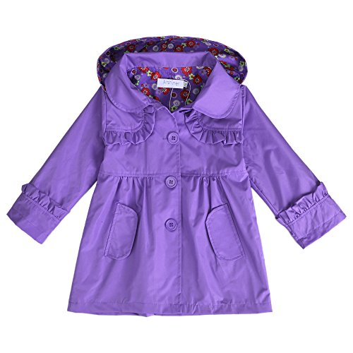 Kid Flower Waterproof Hooded Jacket