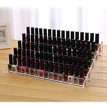 Cq acrylic 72 Bottles of 5 Layers Nail Polish Rack-Clear Nail Polish Display,Just Stand on the Table or Desk,15.7x7.8x7.5 inch,Pack of 1
