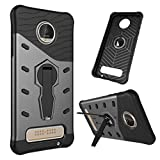 Moto Z Play Case, NOKEA Heavy [Heavy Duty] [Dual Layer] Combo Holster Cover Defender Full Body Protective Cover with 360 Degree Rotating Kickstand for Motorola Moto Z Play Droid (Black)
