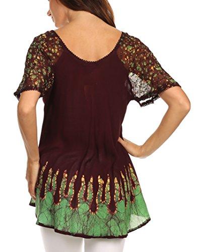 Cora haut batik chemisier coupe motif Chocolat relax brode Vert mancherons Sakkas Of4wqERO