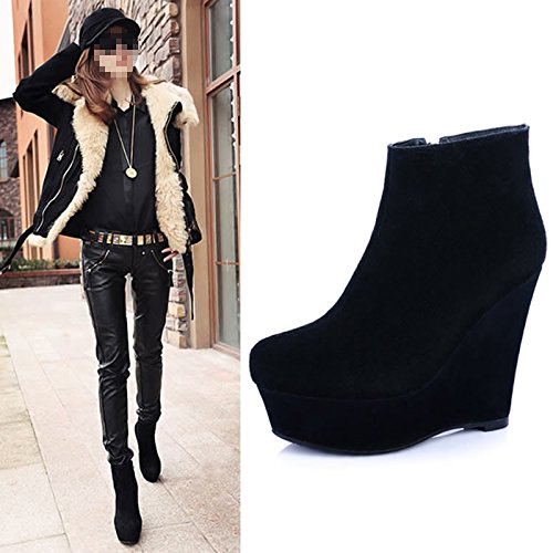 Bottom Leather 12Cm Boot Wedge Spring Wedge Thirty All Match Black KHSKX seven Heeled Thick High Female Waterproof Heel Matte Ultra Boot 17Ixqg