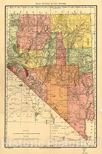 (Historic 1893 Map | Indexed County and Township Pocket map and shippers Guide of Nevada, accompanied by a New and origianl Compilation and Ready Reference Index 16in x 24in)