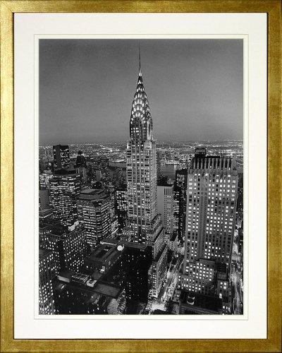 Henri Chrysler Silberman Building - Chrysler Building, New York by Henri Silberman. Framed Photo Poster. Custom Made Real Wood Modern Scratched Gold Frame (17 1/8 x 21 1/8)
