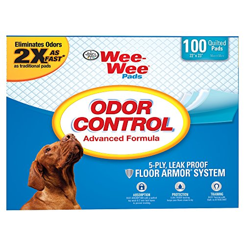 Four Paws Wee-Wee Odor Control Puppy Pads, 100 Ct by Four Paws