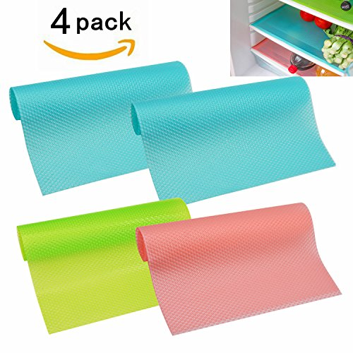 "HityTech 4 Pack Refrigerator Mats, EVA Refrigerator Liners Washable Can Be Cut Refrigerator Pads Fridge Mats Drawer Table Placemats/Size 17.7"" x 11.8"" - Random Colors"
