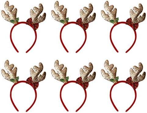 Amosfun 6 Stücke Weihnachten Haarreif Rentier Geweih Elch Ohren Haarschmuck Haarband Stirnband Kopfschmuck Kopfbedeckung Kinder Erwachsene Party Hirsch Kostüm Zubehör Deko