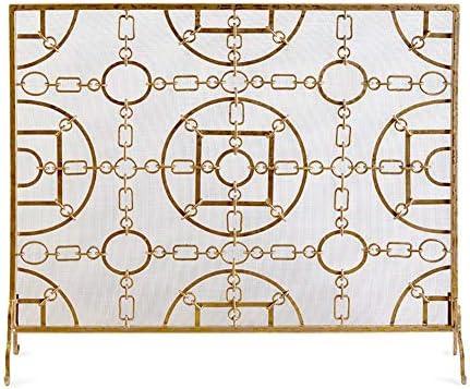 暖炉スクリーン MYL ゴールドフラットガード暖炉スクリーン - 屋内/屋外用鍛造アイアンファイア画面大型装飾メッシュベビー金庫、無料立ちスパークガード (Color : Gold, Size : 105×22×90cm)