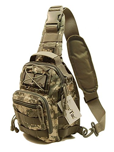 TravTac Stage II Small Sling Bag, Premium Everyday Carry Tactical Sling Pack 900D (ACU Camo)