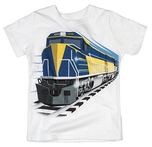 Run Diesel Locomotive - Shirts That Go Little Boys' Diesel Train T-Shirt 8 White