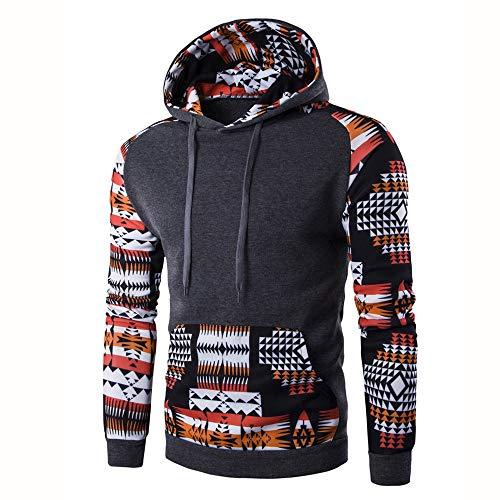 Men's Hoodies Sweatshirt Clearance Sale! Jiayit Men Autumn Winter Geometric Printing Hoodie Pocket Hooded Sweatshirt Tops Blouse (XL, Dark Gray)