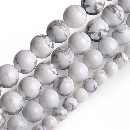 iSTONE Howlite Magnesite Gemstone Loose Beads Round 6mm Crystal Energy Stone Healing Power for Jewelry Making