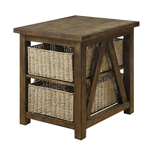 Emerald Home Hanover Burnished Oak End Table with Two Shelves And Two Woven Baskets
