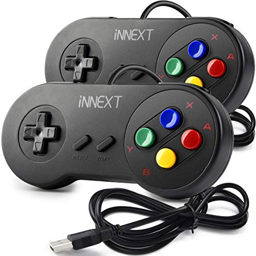 2 Pack SAFFUN SNES Retro USB Controller Gamepad Joystick, USB PC Super Classic Controller Joypad Gamestick for Windows…