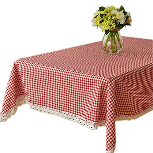 Square Tablecloth 35 x 35 Inches, Checked Table Cloth with White Lace for Square or Round Tables, Perfect for Buffet Table, Parties, Holiday Dinner, Wedding & More, Cotton Linen Red