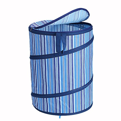 Pop-Up Laundry Hamper Denim-Colored with Lid and Carry Handles - Navy Blue 16x22inch - Large Size for Laundry Storage - for College Dorm Kids Room or Bathroom