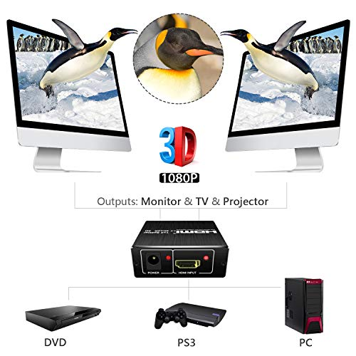 SOWTECH V2.0 Powered 1 in 2 Out Splitter Dual Monitor Duplicating and Ultra HD 4Kx2K@60Hz YUV/HDCP / and HDR