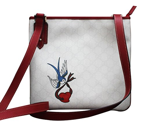Gucci Cross Body Messenger Bag Handbag with Heart Bird Tatto (Large Gucci Bags)