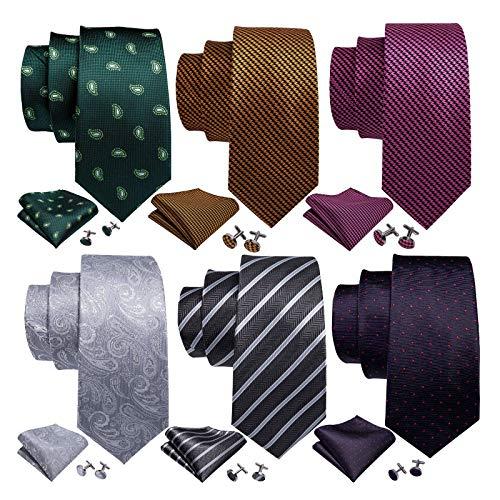 Barry.Wang Men's Tie Set Silk Wedding Neckties Jacquard Woven Fashion Formal Business (6PCS Tie Set-3)