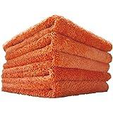 (5-Pack) THE RAG COMPANY 16 in. x 16 in. Eagle Edgeless Orange Professional Korean 70/30 Super Plush 480gsm Microfiber Detailing Towels