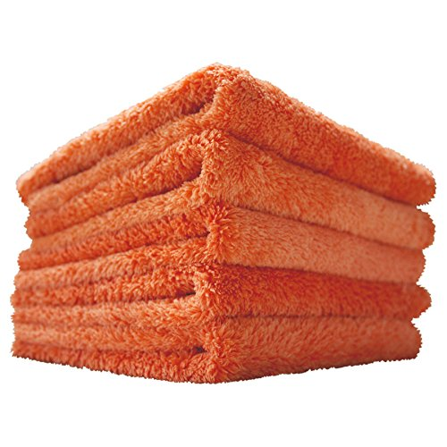 (5-Pack) THE RAG COMPANY 16 in. x 16 in. Eagle Edgeless Orange Professional Korean 70/30 Super Plush 480gsm Microfiber Detailing Towels