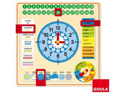 Amazon.com: Goula – Clock and Calendar, Educational Material (Diset 51305) English Language not Guaranteed: Toys & Games