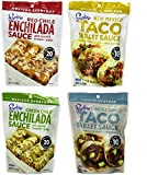Frontera Gourmet Mexican Simmer Sauce 4 Flavor Variety Bundle, 1 Each: Red Chile Enchilada, New Mexico Taco, Green Chile Enchilada, and Chipotle Garlic Taco, 8 Oz. Ea. (4 Pouches Total)