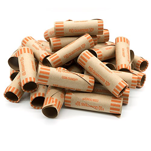Ram-Pro 2 Pack Quarter Wrappers - Preformed Coin Wrappers Tubes Paper Coin Wrapper, Convenient Quarter Storage Cover Coin Rolls, Coin Wrappers Quarters for Bank and Office