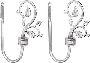 EleCharm 1Pair Simple Curtain Holdbacks European Type Curtain Hook Classic Wall Hooks Drapery Holdbacks (Silver)