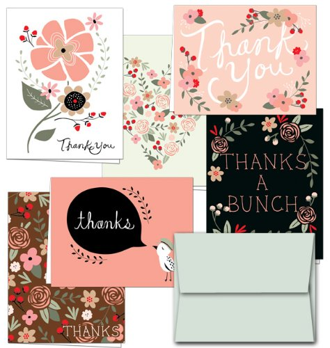 (Thank You Potpourri - 144 Thank You Cards - 6 Designs - Blank Cards - Gray Envelopes Included)