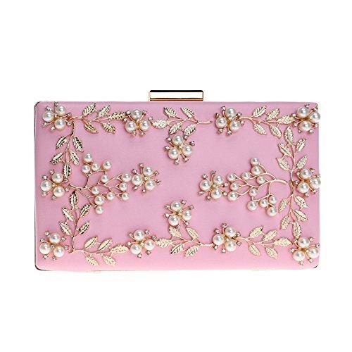 Cuir MéTallique Mesdames Perle Pochette Pink SoiréE Pu Fleur Sac Clutches De Cadre q1c51r0a