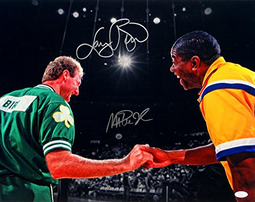 Larry Bird Magic Johnson Autographed 16x20 Shaking Hands Matte Photo- JSA Auth (Larry Bird Picture)