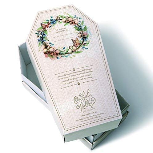 Orchid Valley Pet Casket Coffin Set - Biodegradable and Eco Friendly Cardboard. Small 12