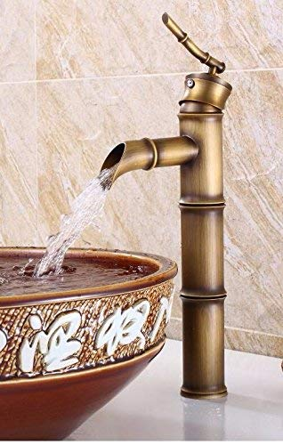 Bamboo Hot And Cold European Retro Style Wash Basin Increase High Single Handle Copper Sink Taps