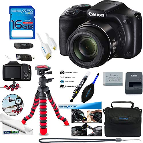 Canon PowerShot SX540 HS with 50x Optical Zoom and Built-In Wi-Fi + Deal-Expo Essential Accessories Bundle